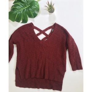 Express Dark Red Maroon Strappy Crisscross Sweater